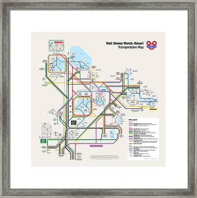Walt Disney World Resort Transportation Map Framed Print by Arthur De Wolf