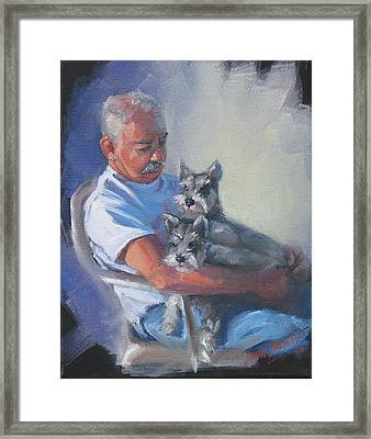Walter And The Kids Framed Print by Laura Lee Zanghetti