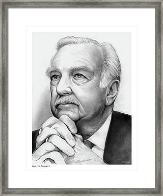 Walter Cronkite Framed Print by Greg Joens
