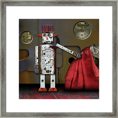 Walter Has A Surprise Framed Print by Joan Ladendorf