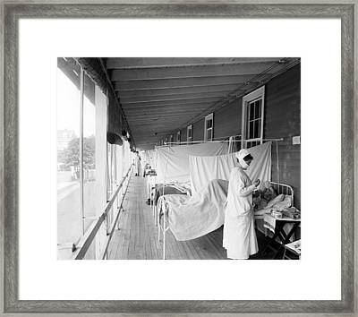 Walter Reed Hospital Flu Ward Framed Print by Underwood Archives