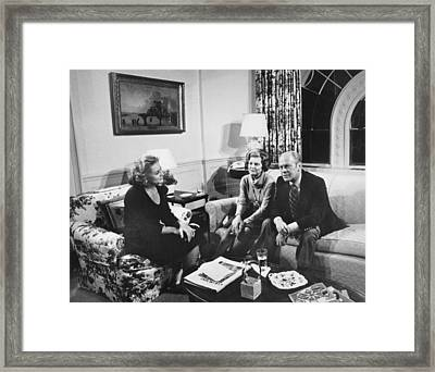 Walters Interviews The Fords Framed Print by Underwood Archives