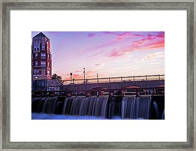 Waltham Ma Charles River Dam At Sunset Framed Print