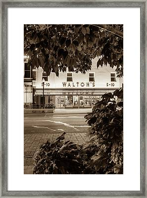 Walton Five And Dime - Downtown Bentonville Arkansas - Sepia   Framed Print