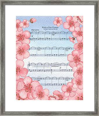 Waltz Of The Flowers Dancing Pink Framed Print by Irina Sztukowski