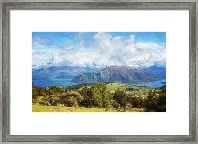 Wanaka New Zealand Painterly Framed Print