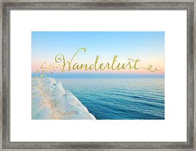 Wanderlust, Santorini Greece Ocean Coastal Sentiment Art Framed Print by Tina Lavoie