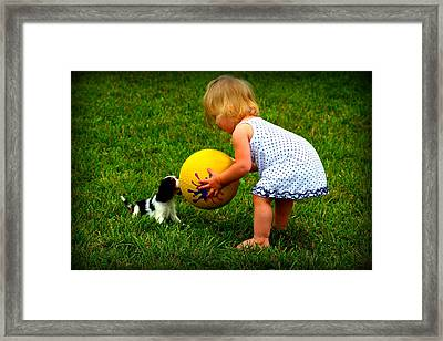 Wanna Play Ball Framed Print by Susie Weaver