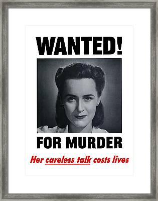 Housewife Wanted For Murder - Ww2 Framed Print by War Is Hell Store
