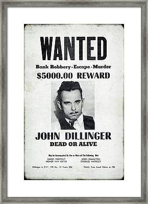 Wanted John Dillinger 1934 Framed Print by Daniel Hagerman