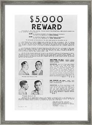 Wanted Poster, 1937 Framed Print