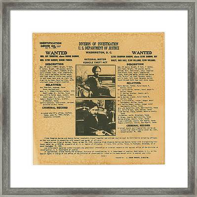 Wanted Poster - Bonnie And Clyde 1934 Framed Print by F B I