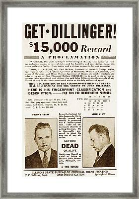 Wanted Poster For John Dillinger Framed Print by Everett