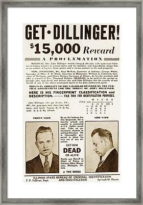 Wanted Poster For John Dillinger Framed Print