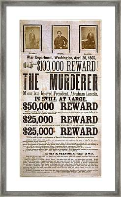 Wanted Poster For The Assassins Framed Print by Everett