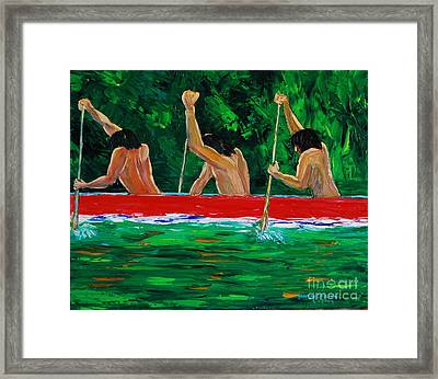 war canoe races 1977 Nooksack tribe Wa  Framed Print by George Chacon