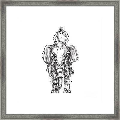 War Elephant Mahout Rider Tattoo Framed Print by Aloysius Patrimonio