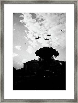 War Helicopters Over The Imperial Fora Framed Print