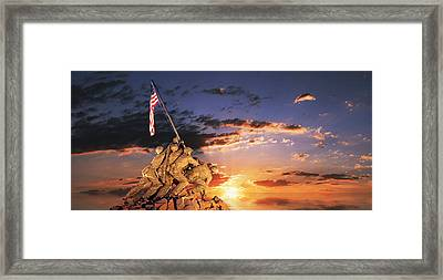 War Memorial At Sunrise, Iwo Jima Framed Print