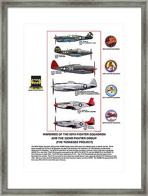 Warbirds Of The 99th Fighter Squadron And 332nd Fighter Group   Tuskegee Project Framed Print by Jerry Taliaferro