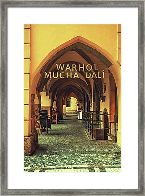 Framed Print featuring the photograph Warhol Mucha Dali. Series Golden Prague by Jenny Rainbow