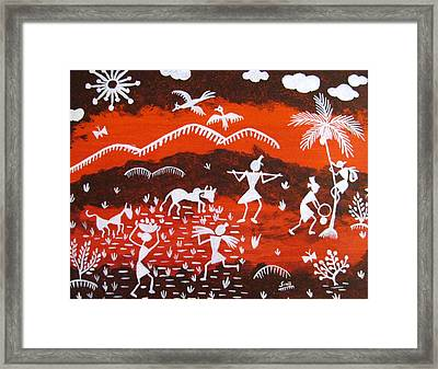Warli Village Scene Framed Print by Sowjanya Sreeram