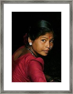 Warli Woman Framed Print by Pramod Bansode