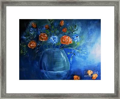 Warm Blue Floral Embrace Painting Framed Print