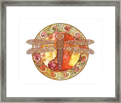 Framed Print featuring the mixed media Warm Celtic Dragonfly by Kristen Fox