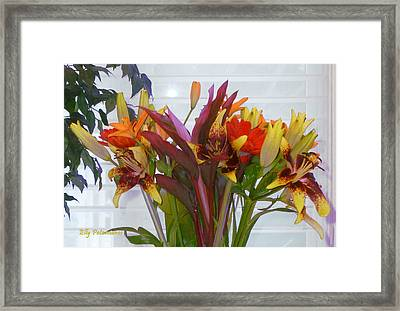 Framed Print featuring the photograph Warm Colored Flowers by Elly Potamianos