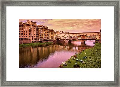 Warm Colors Surround Ponte Vecchio Framed Print