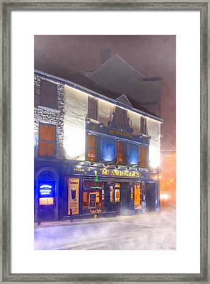 Warm Irish Pub On A Cold Winter Night In Galway Framed Print by Mark E Tisdale