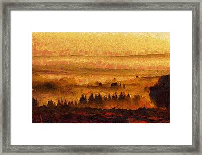 Warm Landscape Art - Trees On The Hill At Sunset  Framed Print by Wall Art Prints