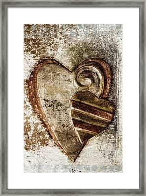 Warm Love Metal Heart Framed Print