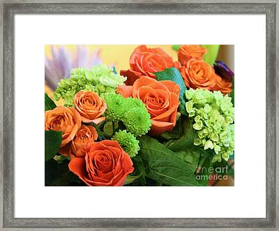Warm Peach Rose Bouquet Framed Print
