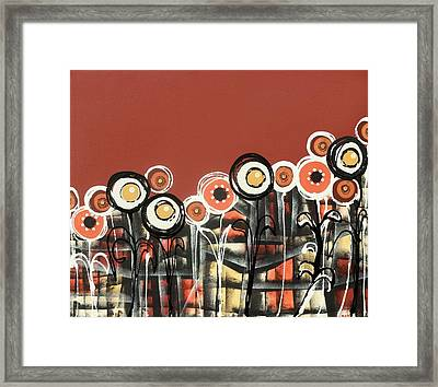 Warm Red Flowers Framed Print