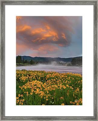Warm River Sunset Framed Print by Leland D Howard