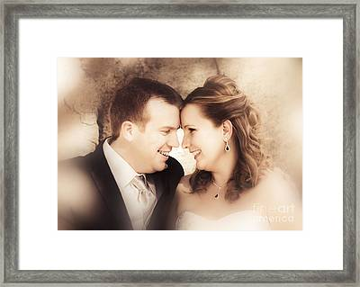 Warm Soft Focus Picture Of Romantic Wedding Couple Framed Print by Jorgo Photography - Wall Art Gallery