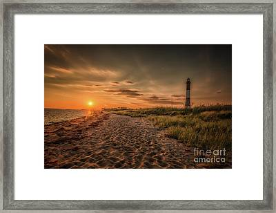 Warm Sunrise At The Fire Island Lighthouse Framed Print