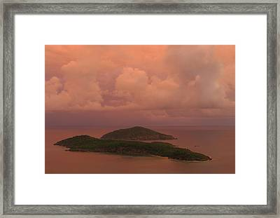 Framed Print featuring the photograph Warm Sunset Palette Of Inner And Outer Brass Islands From St. Thomas by Jetson Nguyen