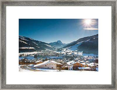 Warm Winter Day In Kirchberg Town Of Austria Framed Print