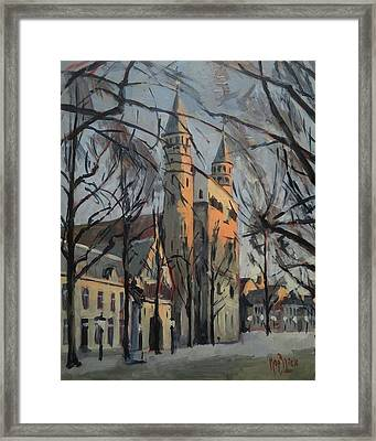 Warm Winterlight Olv Plein Framed Print