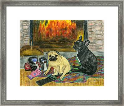 Warming Up By The Fireside Framed Print