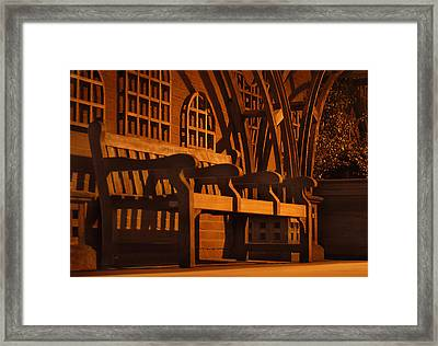 Warmth Of A London Bench Framed Print by Mike McGlothlen