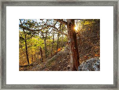 Warmth Of Comfort - Blowing Springs Trail In Bella Vista Arkansas Framed Print by Lourry Legarde