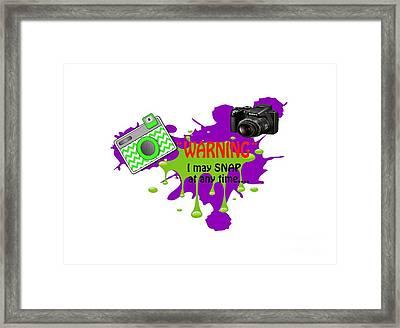 Warning I May Snap T-shirts Framed Print by Beverly Guilliams