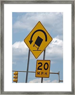 Warning Tippy Framed Print