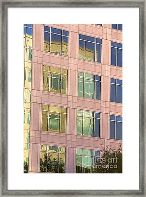 Framed Print featuring the photograph Warped Window Reflectionss by Linda Phelps