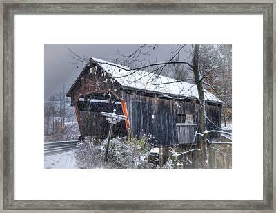 Warren Covered Bridge In Snow - Warren Vermont Framed Print by Joann Vitali