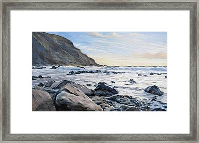 Framed Print featuring the painting Warren Point Sunset Duckpool by Lawrence Dyer